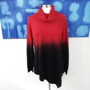Two-toned Asymmetrical Cowl Neck Sweater